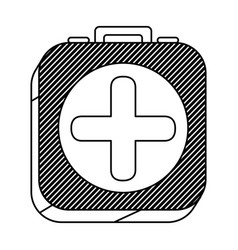 Square silhouette button with contour first aid vector