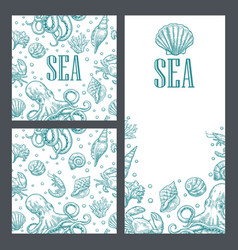 Template for greeting card and seamless pattern vector