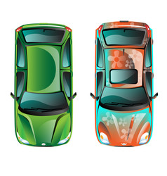 two car top view vector image vector image