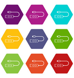 usb adapter connectors icon set color hexahedron vector image