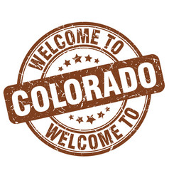 Welcome to colorado brown round vintage stamp vector
