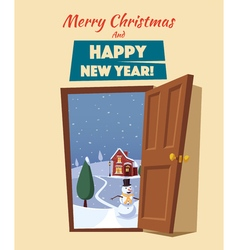 Open door winter landscape cartoon vector