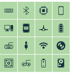 Set of 16 computer hardware icons includes aux vector
