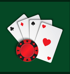 Set of simple playing cards with casino chips on vector