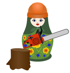 lumberjack with a chainsaw vector image