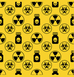 Danger seamless pattern on yellow background vector
