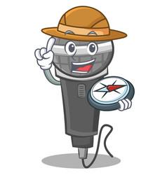 Explorer microphone cartoon character design vector