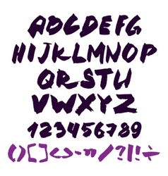 Hand written alphabet with numbers and symbols vector