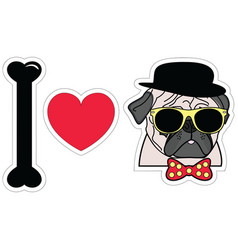 I love pugs hipster with tie bow with dots vector