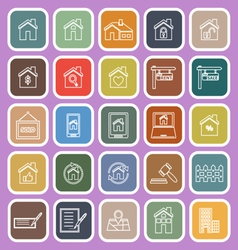 Real estate line flat icons on violet background vector