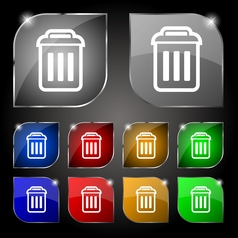 Trash icon sign set of ten colorful buttons with vector