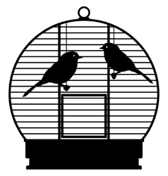 Cage with birds vector