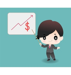 Cute cartoon or mascot businessman points vector