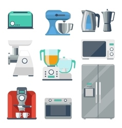 Cooking equipment flat icons set vector