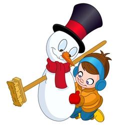 Boy making snowman vector
