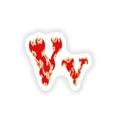 Sticker fiery font red letter v on white vector