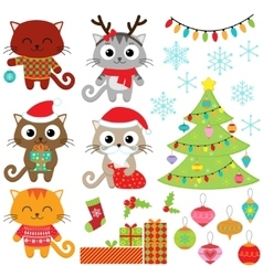 Cats in christmas costumes vector