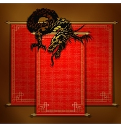 Chinese dragon on a red scroll vector