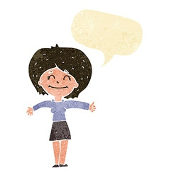 Cartoon woman giving thumbs up sign with speech vector