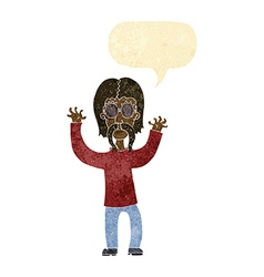 Cartoon hippie man waving arms with speech bubble vector