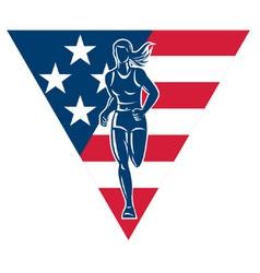 american female marathon runner vector image