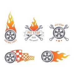 Colored racing tires and service emblems vector
