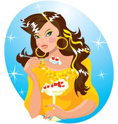 beautiful girl eating ice-cream vector image