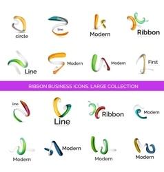 Line ribbon logo set vector