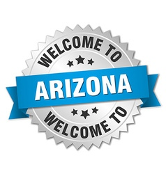 Arizona 3d silver badge with blue ribbon vector