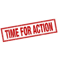 Time for action red square grunge stamp on white vector