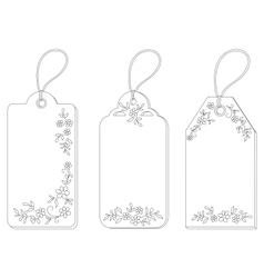 Tags with floral pattern contours vector