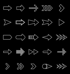 Arrow line icons on black background vector image