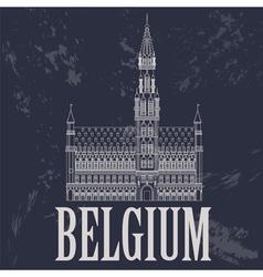 Belgium landmarks retro styled image vector