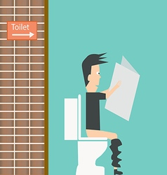 Businessman reading newspaper in restroom vector image