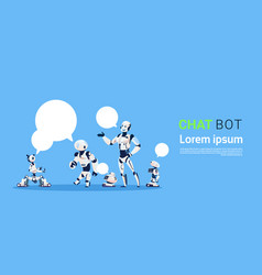Chat bot group robots virtual assistance element vector