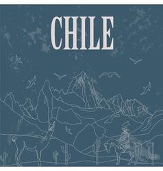 Chile landmarks retro styled image vector