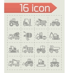 Construction transport icon set vector