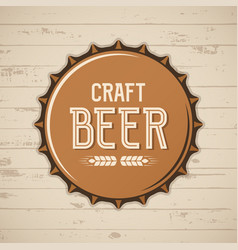 craft beer bottle cap brewery logo emblem vector image