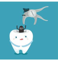 Dental tools of police arrest bacteria vector