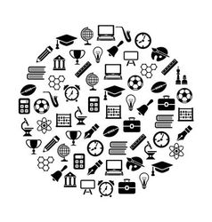 Education icons in circle vector