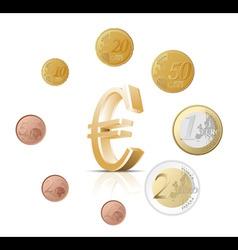 euro coins vector image vector image