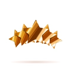 Five glossy bronze rating stars with shadow on vector image