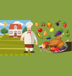Food horizontal banner cook cartoon style vector