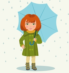 Girl with an umbrella vector