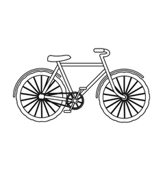 Green bicycle icon in outline style isolated on vector image