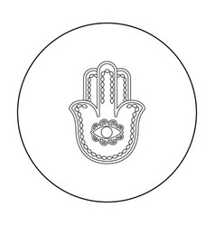 Hamsa icon in outline style isolated on white vector