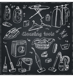 Laundry themed doodle set vector