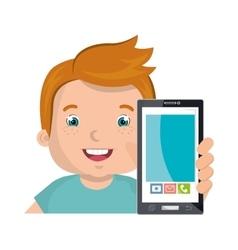 little kid online with smartphone vector image