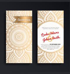 luxury wedding invitation with mandala vector image vector image