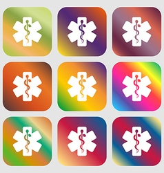 Medicine sign icon Nine buttons with bright vector image vector image